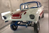 Woodys Gasser Chevy 1957 Paint New Frame Red White Blue Hilborn Vintage 024
