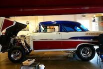 Woodys Gasser Chevy 1957 Paint New Frame Red White Blue Hilborn Vintage 022