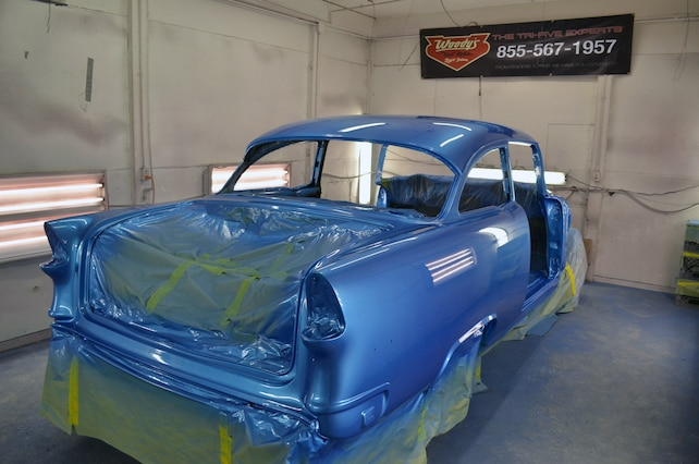 Woodys Hot Rods 1955 Giveaway Car 01 Rear Quarter Being Painted
