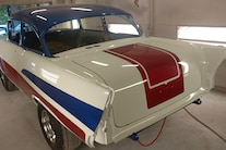 Woodys Gasser Chevy 1957 Paint New Frame Red White Blue Hilborn Vintage 025