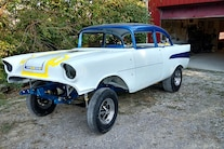 Woodys Gasser Chevy 1957 Paint New Frame Red White Blue Hilborn Vintage 023
