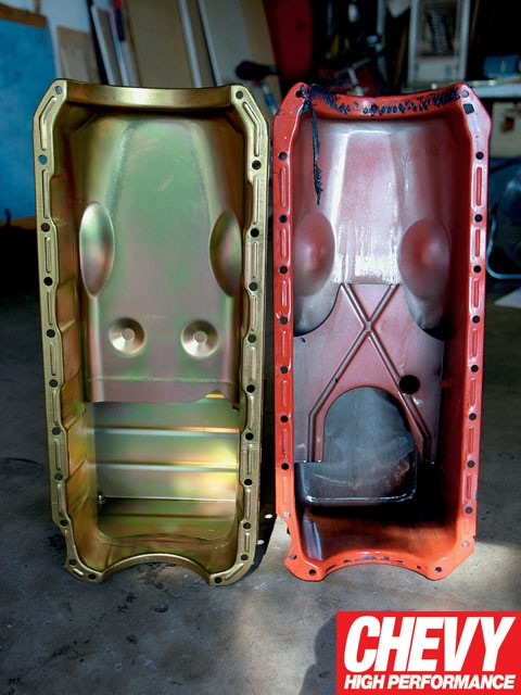 0904chp_02_z Two_oil_pans_side_by_side Milodon_oil_pan_next_to_old_pan