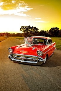 054 1957 Chevy Bel Air Pro Street Red Blown Injected