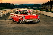 050 1957 Chevy Bel Air Pro Street Red Blown Injected