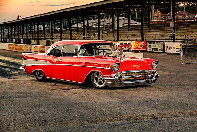 001 1957 Chevy Bel Air Pro Street Red Blown Injected