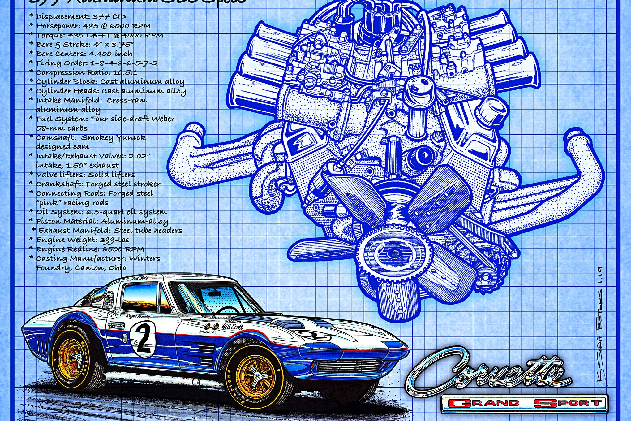 01 Aluminum Corvette Small Block Chevy 377 Inches