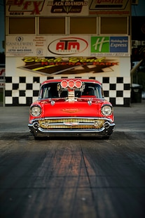 055 1957 Chevy Bel Air Pro Street Red Blown Injected