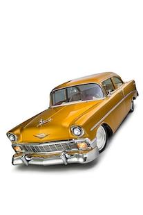 032 1956 TMI Chevy Gold SEMA Custom Interior Fitech