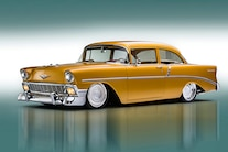 004 1956 TMI Chevy Gold SEMA Custom Interior Fitech