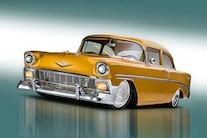 001 1956 TMI Chevy Gold SEMA Custom Interior Fitech