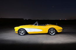 Velocity Yellow 1960 Corvette restomod is no good at hide and seek