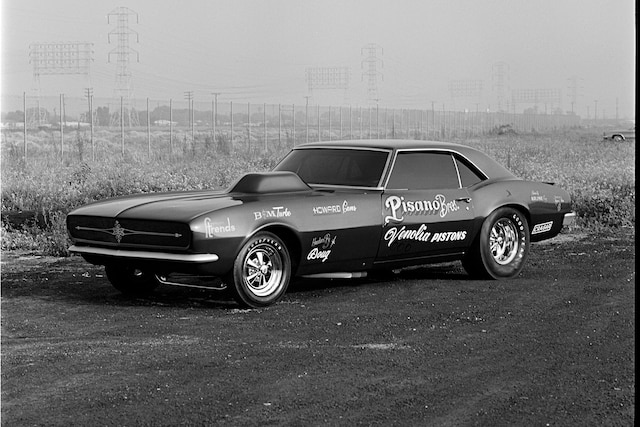 001 Pisano Bros 1967 Chevrolet Camaro Match Race Funny Car Front Three Quarter Finished