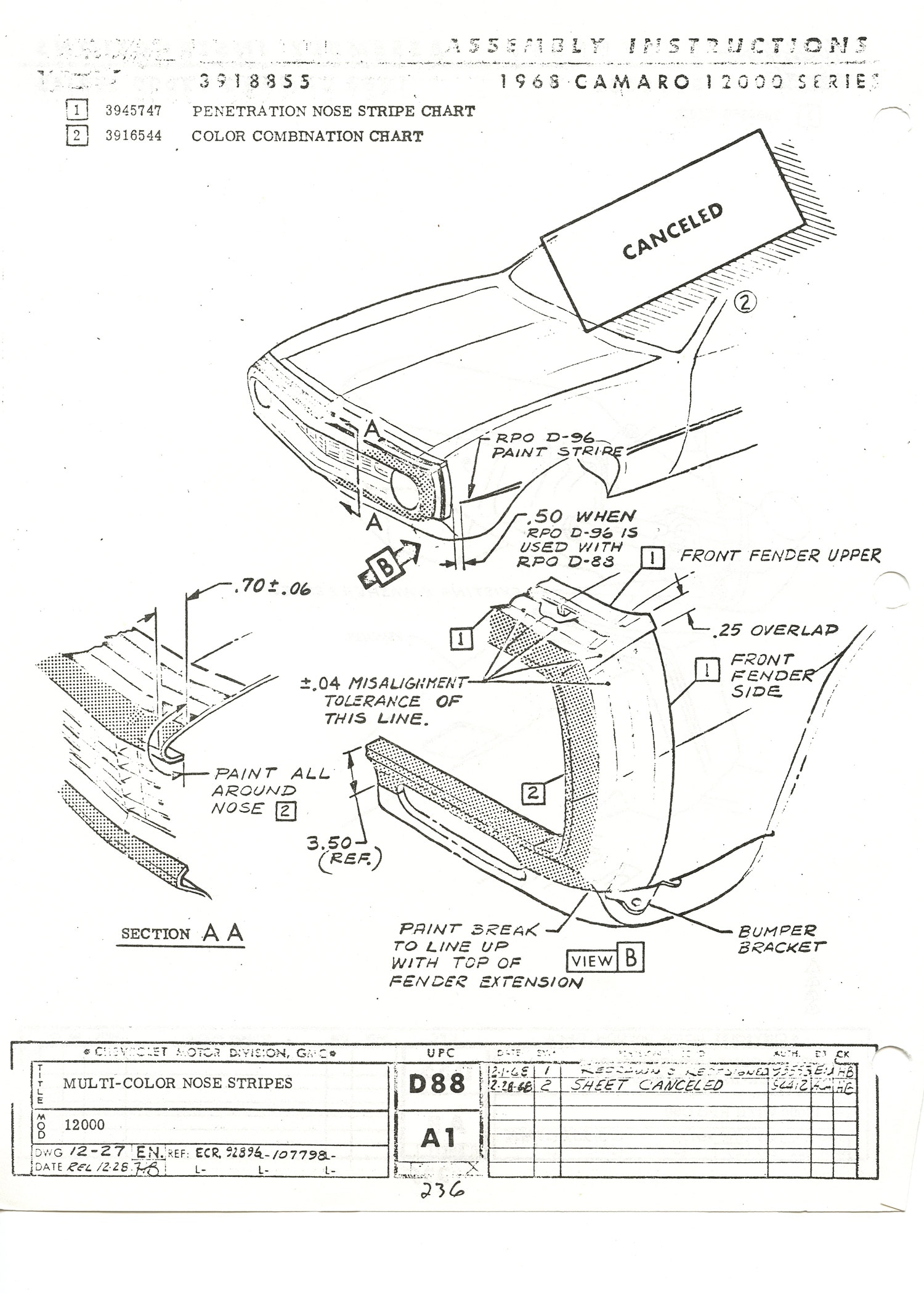 1968 Chevrolet Camaro Ss Paint Instructions Sheet