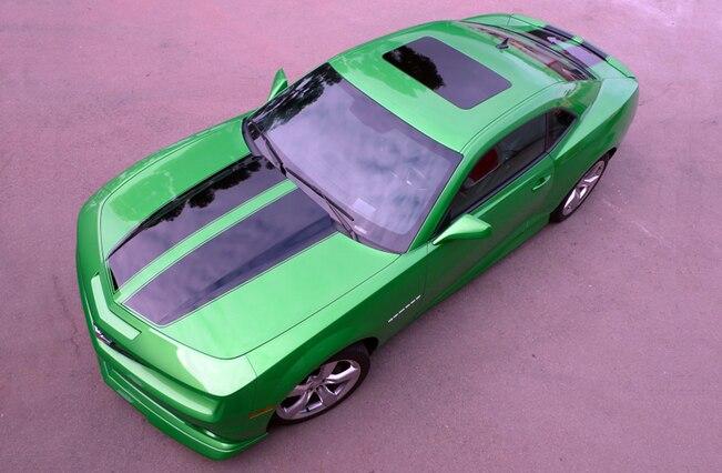Chevy Camaro Synergy Green Black Rally Stripes